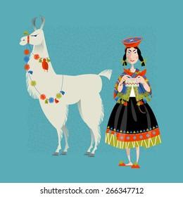 Lama Alpaca and knitting Peruvian woman. Vector illustration.