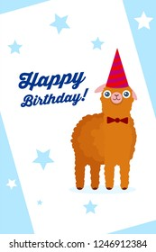 Lama alpaca on creative postcard with holiday background and caption. Vector illustration for Happy Birthday poster or Greating card design.