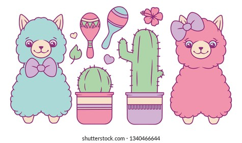Lama or alpaca vector collection set with different fluffy pastel colored blue and pink cute animals, cactus, rumba shaker, hearts and leaf