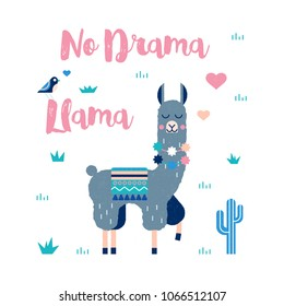 Lama card with cactus in vector with lettering quote- no drama llama. Perfect for posters, stickers, greeting cards, notebooks and other childish accessories.