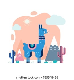 Lama card with mountains and cactus in vector. Perfect for posters, stickers, greeting cards, notebooks and other childish accessories.