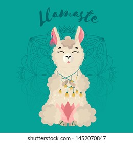 Lama in cartoon style. Namaste quote.Alpaca on the mandala background. Hand drawn vector illustration. Elements for greeting card, poster, banners. T-shirt, notebook and sticker design.