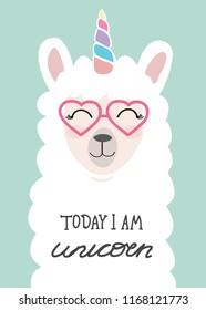 lama cute unicorn illustration with inscripton Today i am unicorn