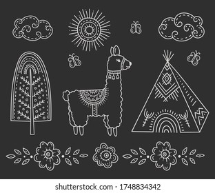 A Lama near an Indian Teepee house, a tree among flowers and butterflies under the sun and clouds. Kids drawing in the Scandinavian style. Folk art. Stylization of chalk drawing.