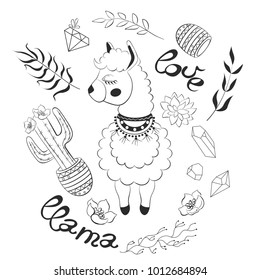 Lama with ornaments and saddle, eyes closed with eyelashes, patterns, love inscription, tropical plants, leaves, cactus with potted flowers, crystals, precious stones, succulents.