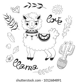 Lama with ornaments and saddle, inscription love, tropical plants, leaves, cactus with flowers in a pot, crystals, precious stones, succulents.