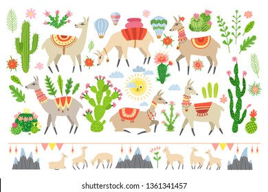 Lama set in cartoon style isolated on white background. Adorable alpaca and cactus elements. Collection of kids scrapbooking elements. Llama and cacti. Ideal for posters, children room decoration, etc