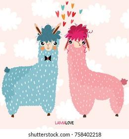 Lamalove- lovely card with cute Llamas.