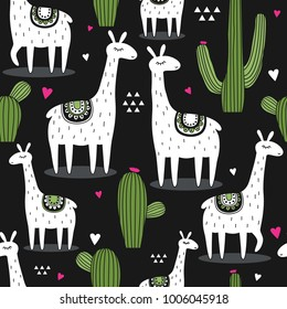 Lamas, cactuses, hearts, hand drawn backdrop. Colorful seamless pattern with animals and cacti. Decorative cute wallpaper, good for printing. Overlapping background vector, happy alpacas. Llama