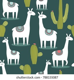 Lamas, hand drawn backdrop. Colorful seamless pattern with animals and cacti. Decorative cute wallpaper, good for printing. Overlapping background vector, happy alpacas. Llama