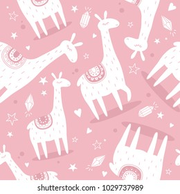 Lamas, hand drawn colored backdrop. Colorful seamless pattern with animals, stars, hearts, crystals. Decorative cute wallpaper, good for printing. Overlapping background vector, happy alpacas. Llama