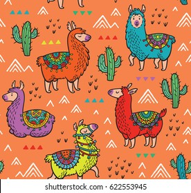 Lamas seamless pattern. Vector illustration. Ideal for cards, invitations, party, banners, kindergarten, baby shower, preschool and children room decoration