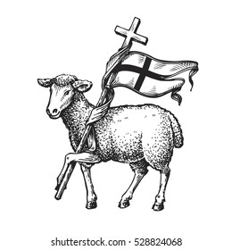 Lamb with Cross. Religion symbol. Sketch vector illustration
