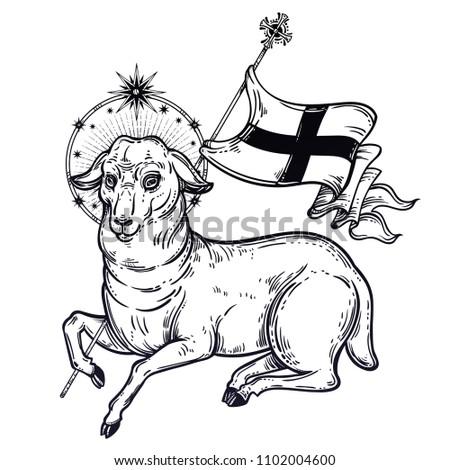 Lamb God Christian Symbol Flag Halo Stock Vector Royalty Free