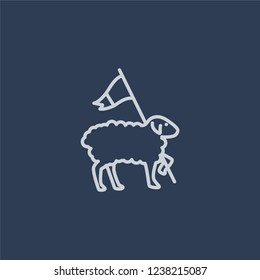 Lamb of God icon. Trendy flat vector line Lamb of God icon on dark blue background from Religion  collection.