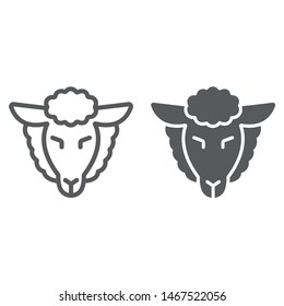 Lamb of god line and glyph icon, jewish and animal, sheep sign, vector graphics, a linear pattern on a white background, eps 10.