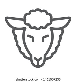 Lamb of god line icon, jewish and animal, sheep sign, vector graphics, a linear pattern on a white background, eps 10.