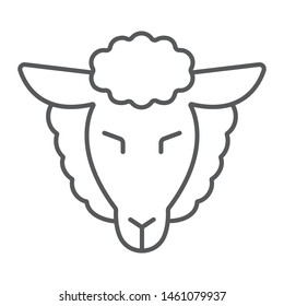 Lamb of god thin line icon, jewish and animal, sheep sign, vector graphics, a linear pattern on a white background, eps 10.