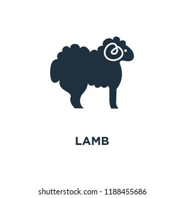 Lamb icon. Black filled vector illustration. Lamb symbol on white background. Can be used in web and mobile.