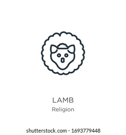 Lamb icon. Thin linear lamb outline icon isolated on white background from religion collection. Line vector sign, symbol for web and mobile