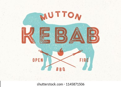 Lamb, kebab. Vintage logo, retro print, poster for Butchery meat shop with text, typography Kebab, Mutton lamb silhouette. Logo template for meat shop, restaurant, menu, kitchen. Vector Illustration