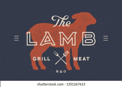 Lamb. Logo with lamb or sheep silhouette, text Lamb, grill meat, bbq. Typography lamb for farm meat business - shop, market. Vintage typography. Vector Illustration
