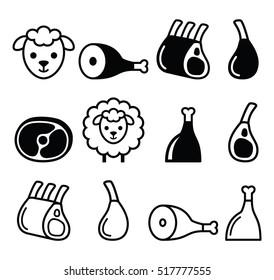 Lamb meat,  icons set
