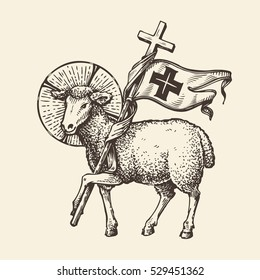 Lamb or sheep holding cross. Religious symbol. Sketch vector