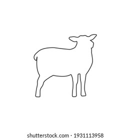 Lamb silhouette isolated on white background. Lamb or Sheep line icon. Vector illustration