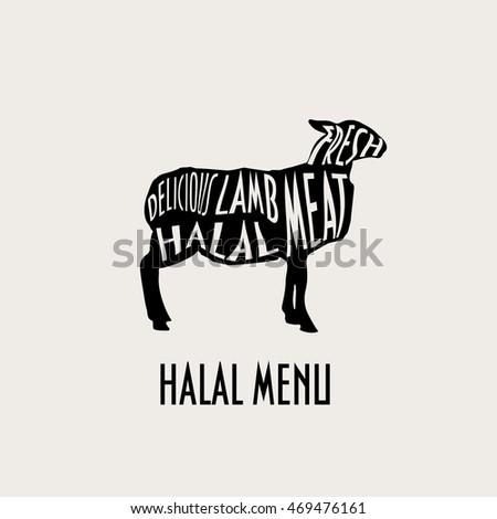 Lamb Silhouette Lamb Meat Good Menu Stock Vector Royalty Free