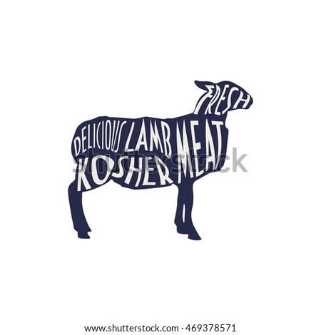 Lamb Silhouette Text Vintage Label Good Stock Vector Royalty Free