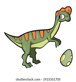 Lambeosaurus Dinosaur on white background Cute Cartoon Vector illustration
