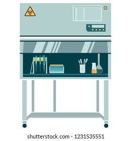 laminar box with labware and laboratory glassware: laboratory pipette, flasks, Erlenmeyer flask, flat-bottomed flask. Work in sterile conditions. Equipped for experimentation. vector illustration