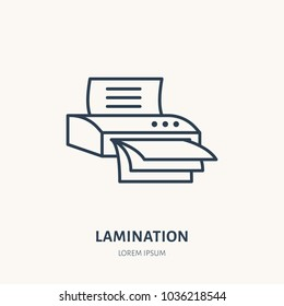 Laminator flat line icon. Office laminating machine sign. Thin linear logo for printery, equipment store.