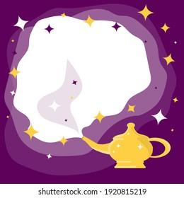 Lamp of Aladdin. Aladdin's magic lamp. Vector, cartoon illustration. Vector.