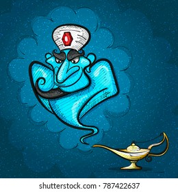 Lamp Aladdin with gin, the magic lamp of Aladdin.vector illustration