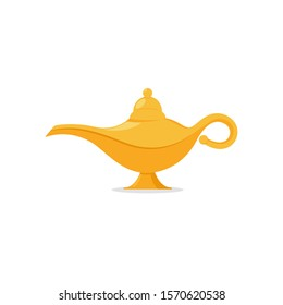 Lamp aladdin magic vector icon. Aladin genie lamp bottle wish cartoon illustration.
