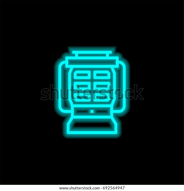 Lamp blue glowing neon ui ux icon. Glowing sign logo vector
