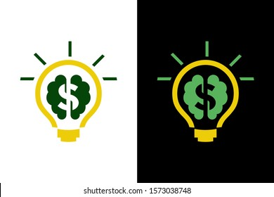 lamp with brain and dollar for icon or logo design concept ready to use