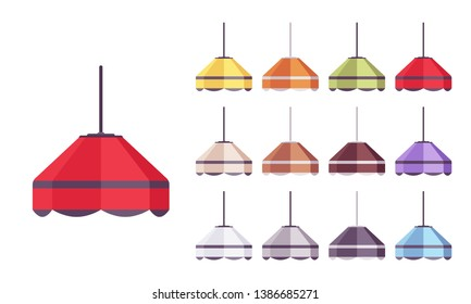 Lamp bright set. Ceiling light for kitchen island, home design and dining room decoration. Vector flat style cartoon illustration isolated on white background, different colors