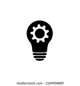 Lamp bulb with gear icon. Woking idea symbol isolated on white background. Idea icon in flat style. Simple process element. Abstract service icon in black. Vector illustration for graphic design, Web.