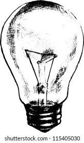 Lamp bulb hand drawn sketch vector illustration