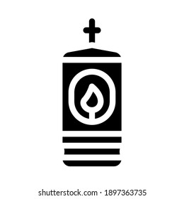 lamp with burning candle glyph icon vector. lamp with burning candle sign. isolated contour symbol black illustration