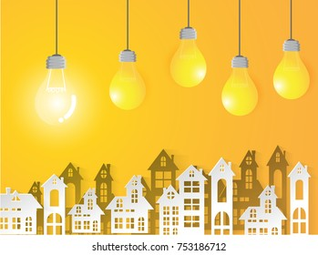 Lamp Business on yellow background and urban Success modern Idea and Concept Vector illustration