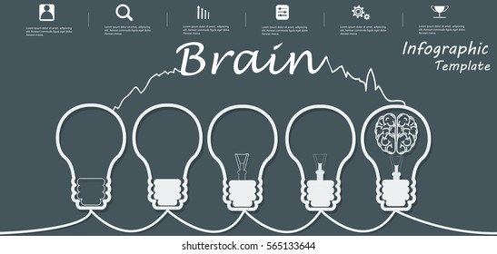 Lamp Business Text Brain, Modern Vector illustration Infographic template.