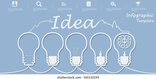 Lamp Business Text Idea, Modern Vector illustration Infographic template.