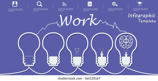 Lamp Business Text Work, Modern Vector illustration Infographic template.