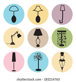 lamp, chandelier colorful icons vector