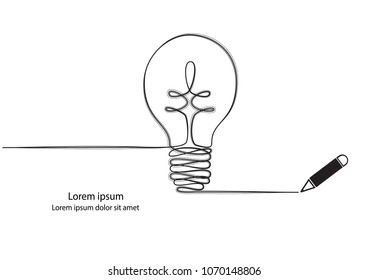 Lamp continuous line drawings. Idea concept vector.