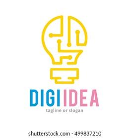 LAMP DIGITAL ELECTRONIC INSPIRATION IDEA LOGO ICON LOGO TEMPLATE SYMBOL EMBLEM VINTAGE